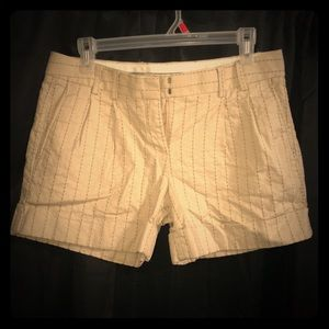 Express beige and black striped dressy shorts